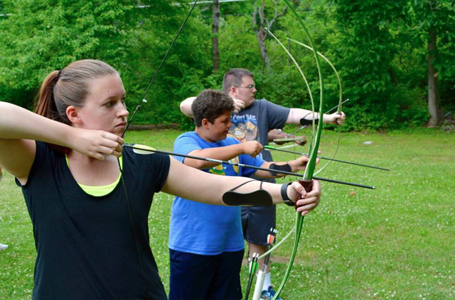 Go for bullseye while doing archery at the best summer fat camp, located in the Poconos, by Tony and Dale Sparber