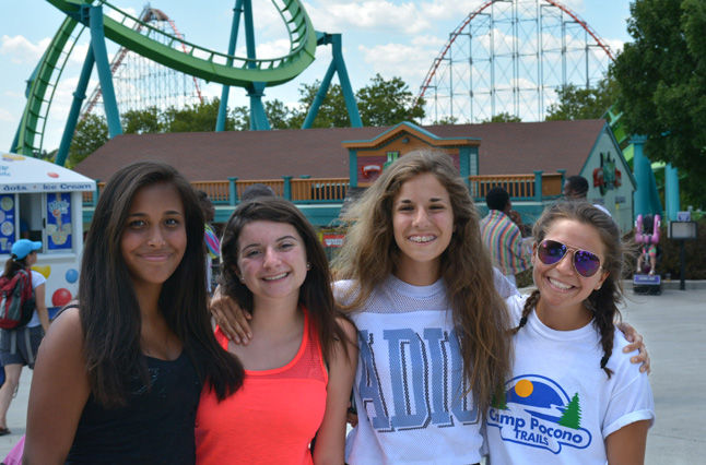 Amusement park trip to Dorney Park, a favorite for Camp Pocono Trails' kids and teens at summer fitness camp