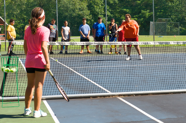 Summer campers love to play tennis at the best weight loss camp, ACA-accredited Camp Pocono Trails